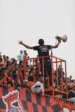 BANGKOK TAILANDIA 5 OTTOBRE: Fan del gruppo di Bangkok FC durante il piede Fotografie Stock Libere da Diritti