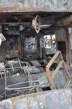 Bangkok/Tailandia - 12 01 2013: Un bus ottenuto insieme su fuoco sulla strada di Ramkhamhaeng Immagini Stock