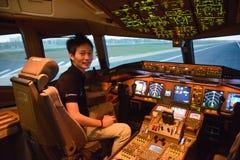 Bangkok, Tajlandia †'Grudzień 5, 2017: Pilotowy szkolenie witać nowych kapitanów i pierwszy oficerów Zdjęcia Stock