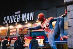 Bangkok Tajlandia, Aug, - 18, 2018: Nowy Spider-Man PS4 gemowy wydarzenie w PlayStation doświadczeniu DENNY Azja Południowo-Wscho obrazy royalty free