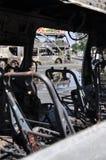 Bangkok, Tajlandia/- 12 02 2013: Autobus i dwa samochodu dostawczego dostać set na ogieniu na Ramkhamhaeng drodze Zdjęcie Stock