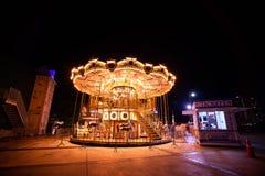 Bangkok Tajlandia, Czerwiec, - 10, 2019: Carousel koń w Asiatique nadbrzeże rzeki w nighttime w Bangkok, Tajlandia obrazy royalty free