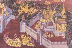 Bangkok Tajlandia, Czerwiec, - 5, 2016: Malować na ścianie o Ramayana przy Szmaragdową Buddha świątynią lub ` Wata Prakaew ` świą Zdjęcie Stock