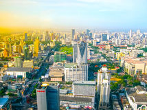 Bangkok Tajlandia, Czerwiec, - 30, 2008: Panorama blisko Petchburi Ro Fotografia Stock