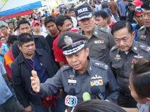 Bangkok, Tajlandia/- 04 30 2010: Czerwone koszula stawiać w górę barykad i bloków obszarów głównych wokoło Środkowego Bangkok Obraz Royalty Free