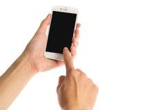 Bangkok TAJLANDIA, Grudzień, - 22, 2015: Jabłczany iPhone 6 na białym tle obracał daleko z czarnym pokazem Obrazy Royalty Free