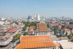 BANGKOK TAJLANDIA, Grudzień, - 21 2017: Widok Bangkok od Złotej góry przy Watem Saket Fotografia Stock
