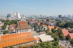 BANGKOK TAJLANDIA, Grudzień, - 21 2017: Widok Bangkok od Złotej góry przy Watem Saket Obraz Stock