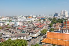 BANGKOK TAJLANDIA, Grudzień, - 21 2017: Widok Bangkok od Złotej góry przy Watem Saket Zdjęcie Royalty Free