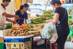 Bangkok Tajlandia, Kwiecień, - 23, 2017: Lub Tor Kora rynek (Wprowadzać na rynek Obraz Stock
