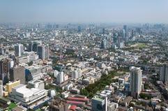 BANGKOK TAJLANDIA, KWIECIEŃ, - 21, 2015: Panoramiczny widok z lotu ptaka Bangkok w pięknym wiosna ranku Bangkok, Tajlandia Fotografia Royalty Free