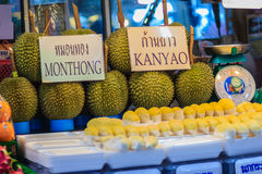 Bangkok Tajlandia, Kwiecień, - 23, 2017: Organicznie durian dur i owoc Fotografia Royalty Free