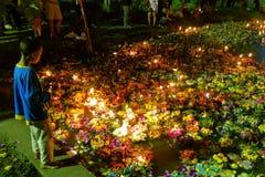Bangkok Tajlandia 6 2014 Listopad - Loy krathong festiwal przy lumphini parkiem Zdjęcie Stock