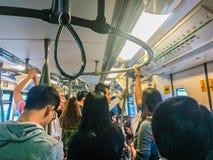 Bangkok Tajlandia, Luty, - 28, 2017: Tłum pasażery na BT Zdjęcia Stock