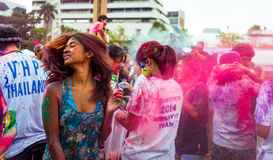 Bangkok Tajlandia 27 Marzec 2016: Holi festiwal, Holi Rangotsav przy Thammasat uniwersytetem, na 27 Marzec 2016 w Bangkok, Tajlan Zdjęcia Stock