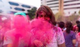 Bangkok Tajlandia 27 Marzec 2016: Holi festiwal, Holi Rangotsav przy Thammasat uniwersytetem, na 27 Marzec 2016 w Bangkok, Tajlan Zdjęcie Stock