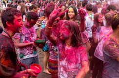 Bangkok Tajlandia 27 Marzec 2016: Holi festiwal, Holi Rangotsav przy Thammasat uniwersytetem, na 27 Marzec 2016 w Bangkok, Tajlan Fotografia Royalty Free