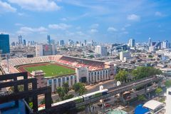 Bangkok, Tajlandia, Marzec Bangkok 2013 Krajowy stadium, widok z lotu ptaka fotografia royalty free