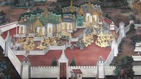 Bangkok Tajlandia, Marzec, - 6, 2018: Obraz na ściennej ramayana opowieści przy Szmaragdowym BuddhaWat Phra Kaew lub Wata Phra Si zbiory wideo