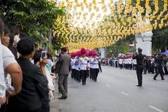 Bangkok Tajlandia, Październik, - 25, 2013: Tajlandzki gwardzisty zespołu marsz Fotografia Royalty Free
