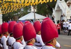 Bangkok Tajlandia, Październik, - 25, 2013: Tajlandzki gwardzisty zespołu marsz obraz stock