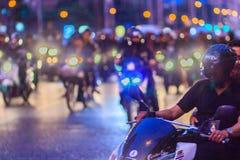 Bangkok Tajlandia, Styczeń, - 30, 2017: Wiele motocykle na Sathor Obraz Stock