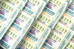 Bangkok, Tajlandia: Września 1,2015 loteria Sprzedający sto ogólnie Fotografia Stock