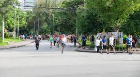 BANGKOK, TAJLANDIA - 2016 WRZESIEŃ 25: Ludzie jogging w Lumpin Zdjęcia Stock