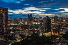 Bangkok Tajlandia, Wrzesień, - 27, 2017: Noc widoku Bangkok skyli Obrazy Royalty Free