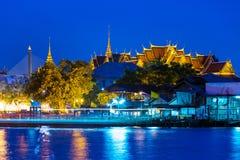 Bangkok temple at night. Bangkok temple and river at night Stock Photos