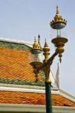 Bangkok in the temple  thailand abstract cross   street lamp rel Stock Photography
