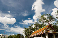 Bangkok temple under the sky. A Bangkok temple in a summer afternoon Royalty Free Stock Images