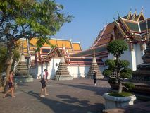 Bangkok temple. With yellow roof.  Thailand Royalty Free Stock Photos