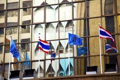 bangkok terrace  thailand  in office      flag  the   modern bu Stock Image