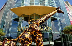 Bangkok, TH: Giant Giraffe Stilt-walker Royalty Free Stock Image