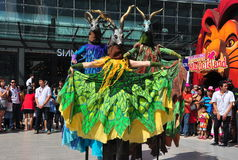 Bangkok, Th: Stiltwalking Antelope Performers Stock Image
