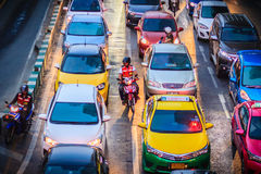 Bangkok, Thaïlande - 8 mars 2017 : Vue d'embouteillage dans photo libre de droits