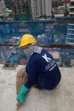 Bangkok thailändsk arbetare i en byggnadsplats Royaltyfria Foton