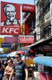 Bangkok, Thailad: De Verkeersteken van Khao San Stock Fotografie