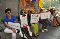 Bangkok, Thailad: People Advertising a New Store Royalty Free Stock Photos