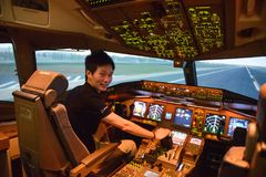 Bangkok, Thailand – December 5, 2017 : Pilot training flight simulator.  stock photo