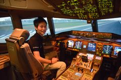 Bangkok, Thailand – December 5, 2017 : Pilot training to welcome new captains and first officers stock photos