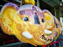Elephant`s head sculpture, Artwork with beautiful Thai painting at Central world plaza mall. stock images