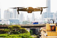 Bangkok, Thailand – 27 January 2018:Flying drone with Aerial v Royalty Free Stock Photography