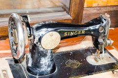 Black Old vintage singer sewing machine in close up. Stock Photo