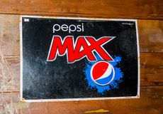 Vintage Trademark branding logo of Pepsi max. BANGKOK, THAILAND. – On March 26, 2018 - Vintage Trademark branding logo of Pepsi max Stock Photos
