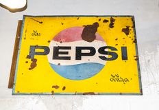 Vintage Trademark branding logo of Pepsi in yellow. BANGKOK, THAILAND. – On March 26, 2018 - Vintage Trademark branding logo of Pepsi in yellow Royalty Free Stock Photography