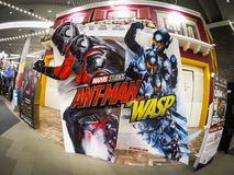 Ant man and the wasp movie promo board at a cinema zone. stock image