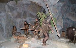 Life size model of Human prehistoric at dinotopia Siam park city stock photography