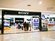 Sony center is retail electronics gaming and entertainment store in a shopping center. BANGKOK, THAILAND. – On May 09, 2018 - Sony center is retail royalty free stock image